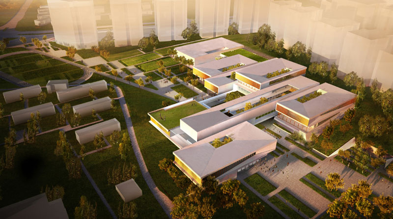 Fields of knowledge sustainable education campus by for Linear organization in architecture