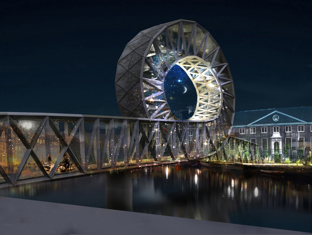 Iconic pedestrian bridge by evgeni leonov architects for Design bridge amsterdam