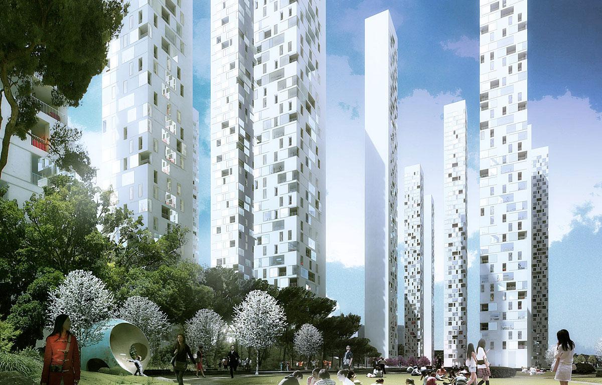 Songdo landmark city block a4 by rex for Landmark design
