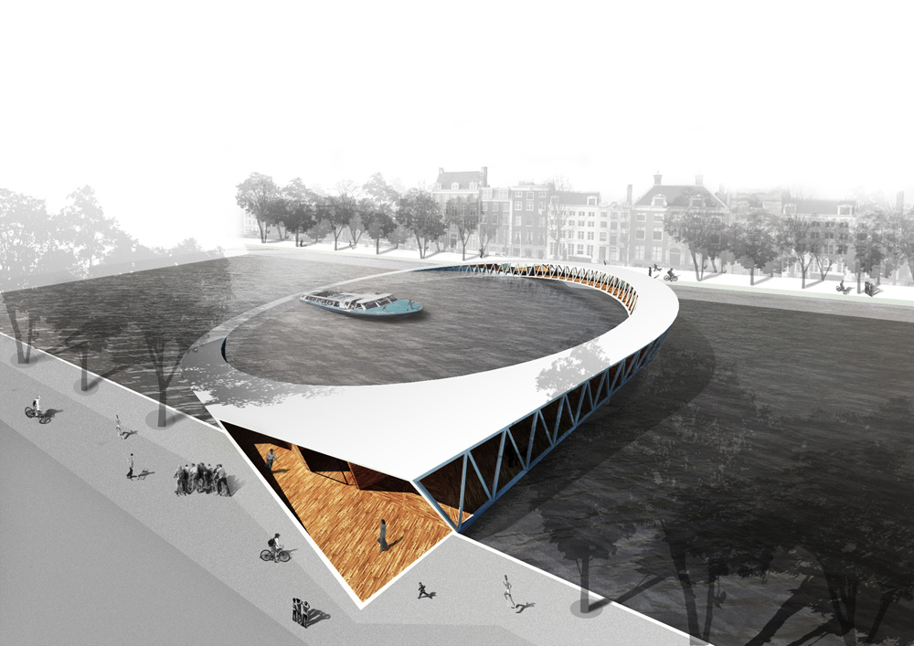 Pedestrian bridge winning proposal for Design bridge amsterdam