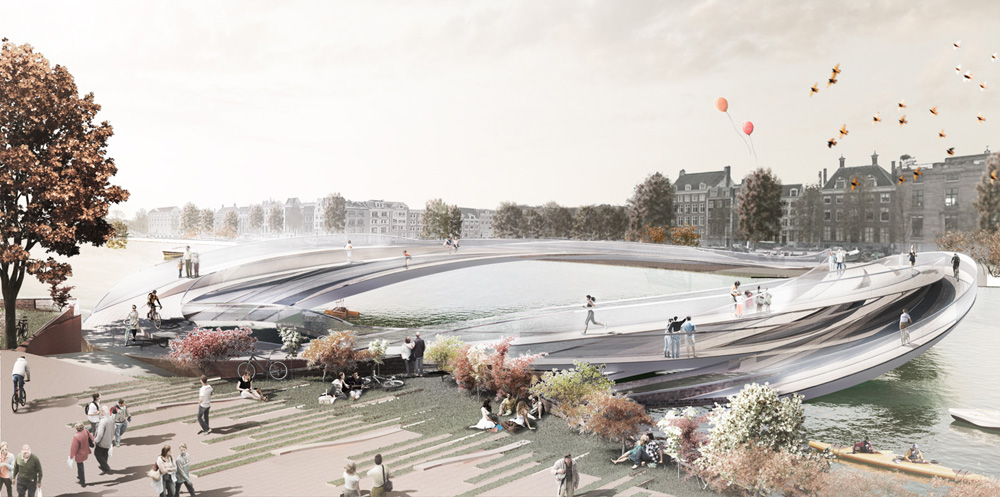 The rink pedestrian bridge by kamvari architects for Design bridge amsterdam