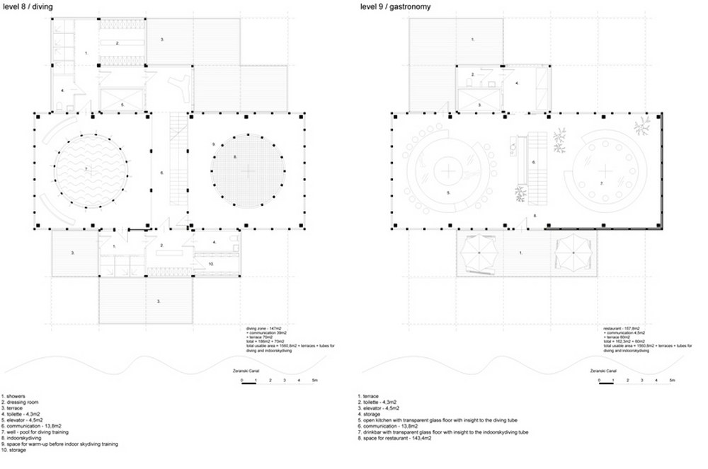 diving and indoor skydiving center proposal by moko architects