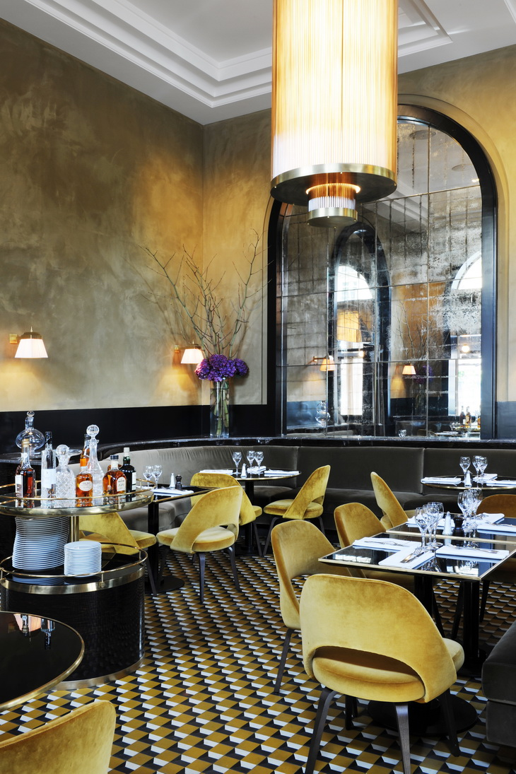renewal of le flandrin restaurant in paris redesigned by joseph dirand. Black Bedroom Furniture Sets. Home Design Ideas