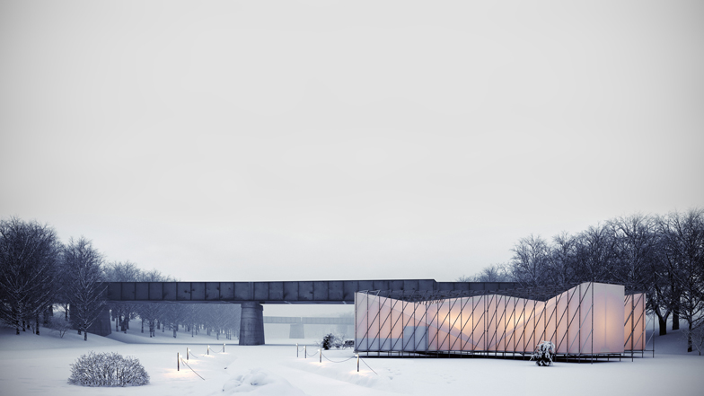 Pop up restaurant over frozen river by os