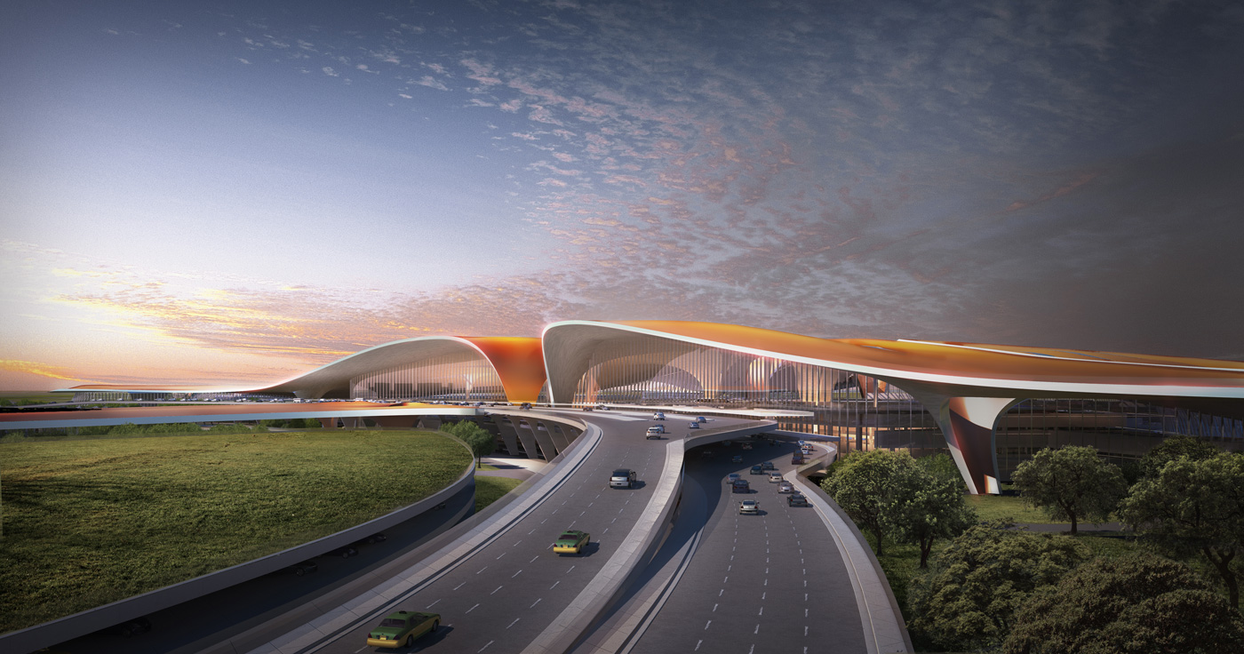 Beijing New Airport And Adpi And Zaha Hadid Architects