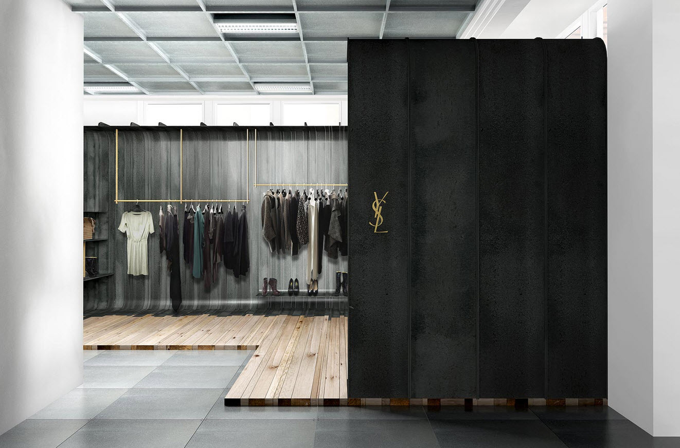 Yves saint laurent store in london by cigu for Retail interior designers in london