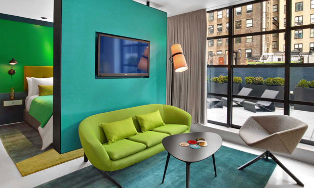 The William Hotel In New York Is A True Celebration Of Colour Which Tastefully Taking On Interiors Walls Artwork As Well Selected Furniture