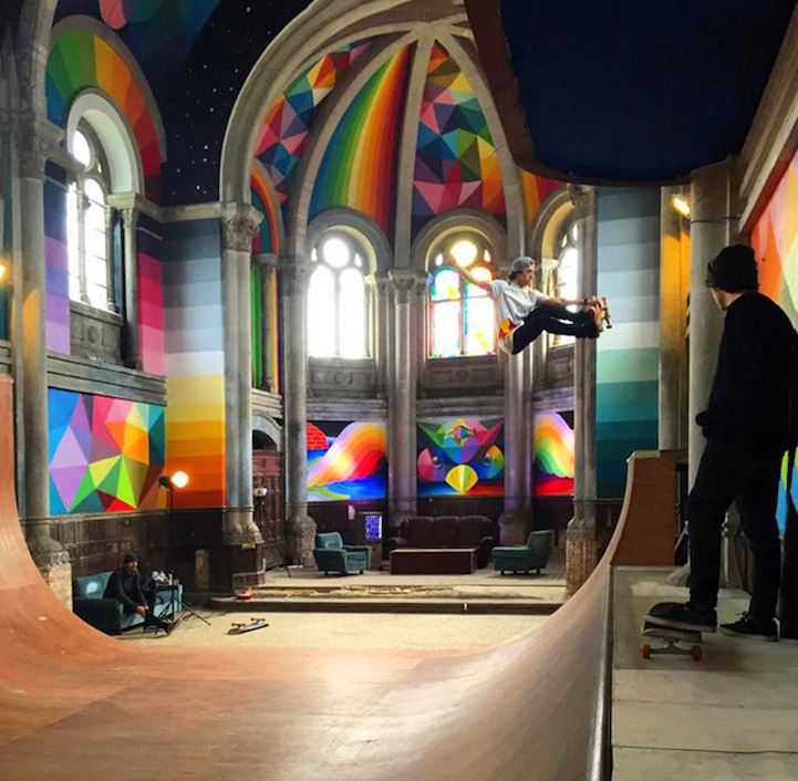 A 100-Year-Old Church Transformed Into Colorful Skate Park