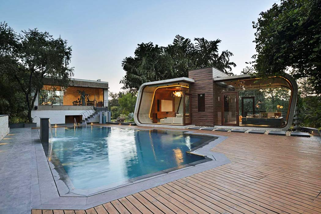 New delhi pool house by 42mm architecture archiscene for Architecture design for home in delhi