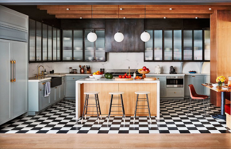 Black And White Checkered Floor Kitchen