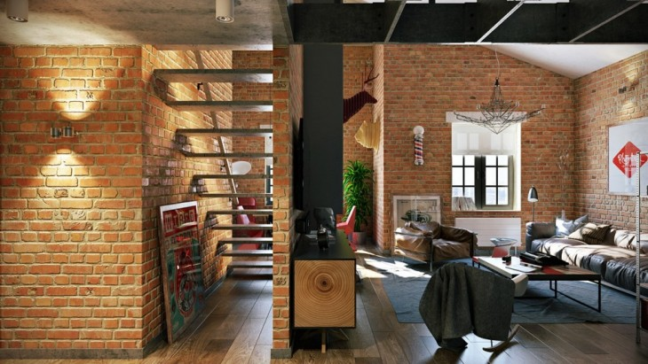 interesting brick loft interior design | Loft Apartment by Pavel Vetrov - Archiscene - Your Daily ...