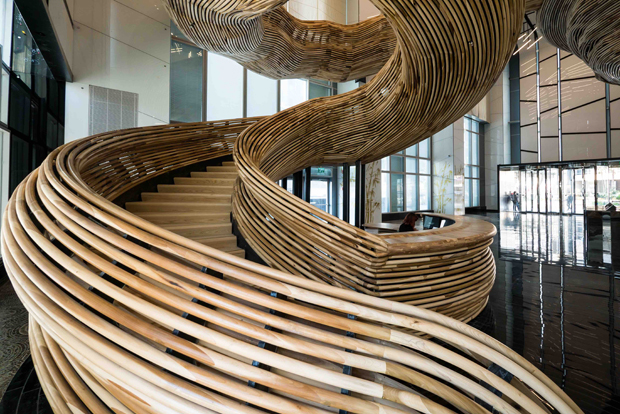 Staircase With Wooden Tower : American tulipwood staircase for amot atrium tower
