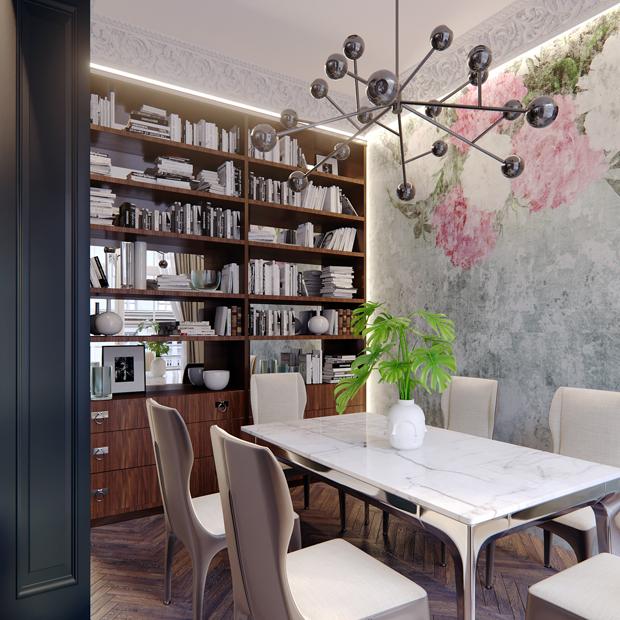 Bibliothèque et suspension design dans la salle à manger