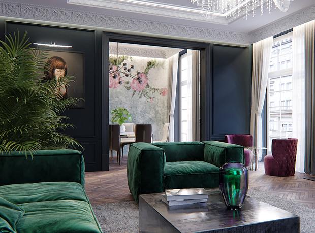 Canapé et fauteuil en velours vert emeraude
