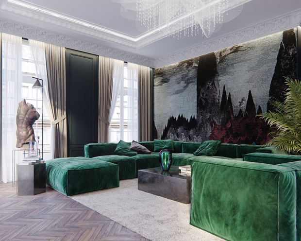 Canapé d'angle et tapisserie au mur