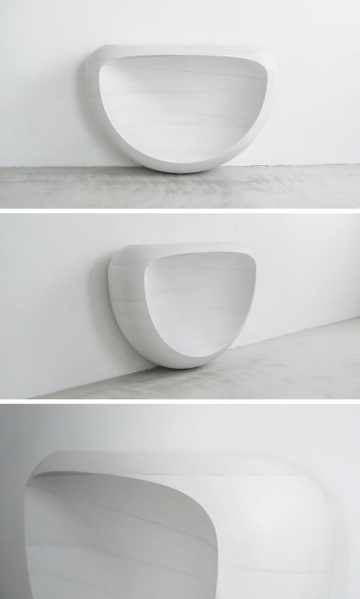 Suspended table by berstein architects - The Oval Coffee Table Sits On Its Own And Also Has Soft Curvature The Table Is Simple And Modern Making It A Timeless Piece
