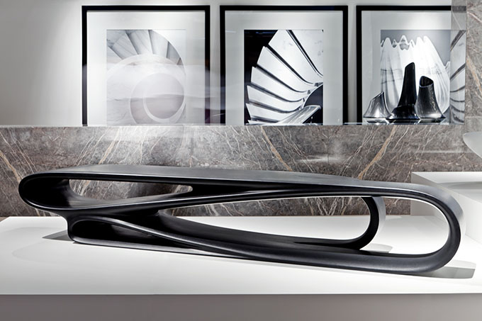 Volta bench malea coffee table for citco by zaha hadid for Product design singapore
